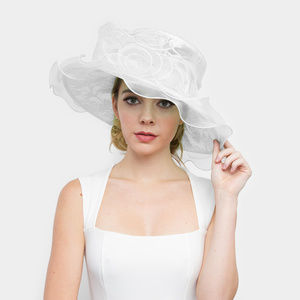 Lace Organza Hat W/ Two Rose in Center